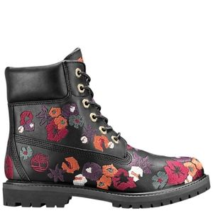 Timberland 6 inch Premium Embroidered Black Boots